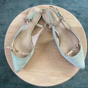 Coach Wooster mint green leather flats